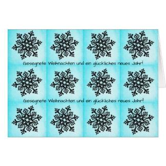 Cartão Floco de neve preto em Weihnachten azul Neues Jahr