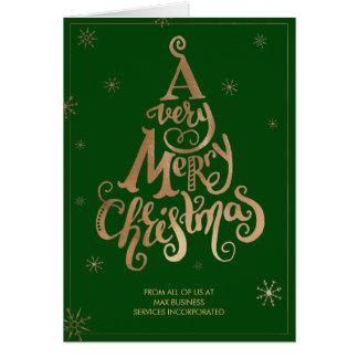 Cartão Flocos de neve da árvore da tipografia do ouro do