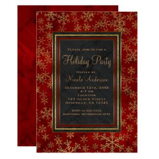 Cartão Flocos de neve de mármore vermelhos do ouro da