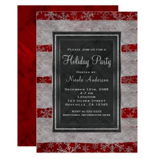 Cartão Flocos de neve de prata de mármore vermelhos
