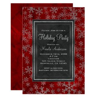Cartão Flocos de neve de prata de mármore vermelhos da