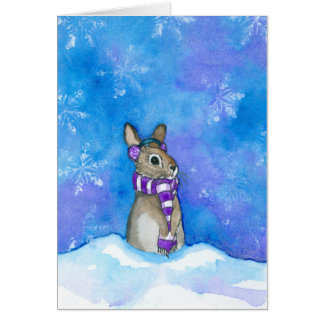 Cartão Flocos de neve do coelho do inverno por Bihrle