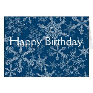 Cartão Flocos de neve do feliz aniversario