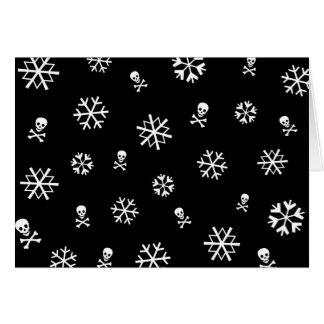 Cartão Flocos de neve e crânios Holliday