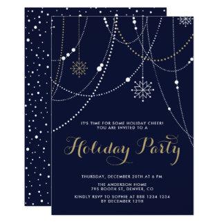 Cartão Flocos de neve e festa natalícia das festões das