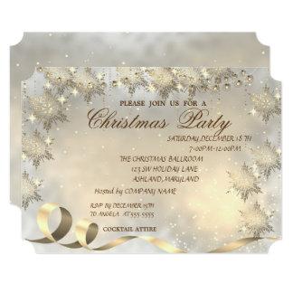 Cartão Flocos de neve elegantes do ouro, festa de Natal