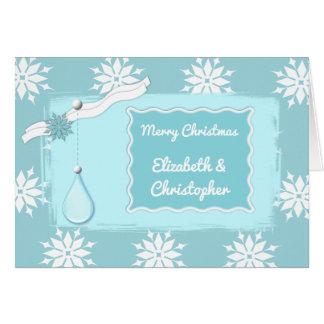 Cartão Flocos de neve personalizados do azul de gelo do