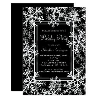 Cartão Flocos de neve pretos da festa natalícia & brancos