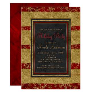Cartão Flocos de neve vermelhos modernos do mármore & do