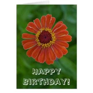 Cartão Flor alaranjada da flor do Zinnia do feliz