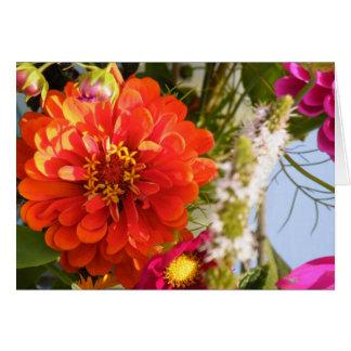 Cartão Flor alaranjada do smiley