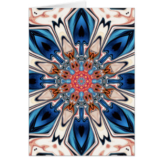 Cartão Flor azul e alaranjada abstrata