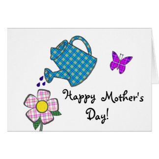 Cartão Flor brincalhão da xadrez para a mãe