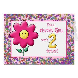 Cartão Flor cor-de-rosa bonito e smiley do segundo