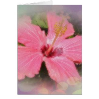 Cartão Flor cor-de-rosa do hibiscus