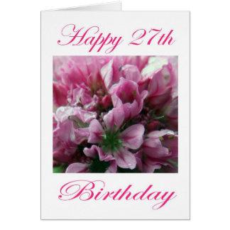 Cartão Flor cor-de-rosa e verde do 27o aniversário feliz