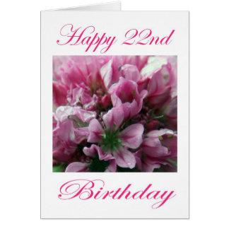 Cartão Flor cor-de-rosa e verde do 2ò aniversário feliz