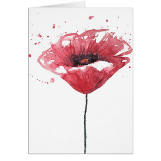 Cartão Flor da papoila, aguarela