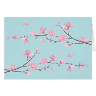 Cartão Flor de cerejeira - azul-céu