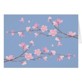 Cartão Flor de cerejeira - azul da serenidade