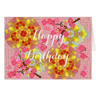 Cartão Flor de cerejeira bonito do rosa japonês floral