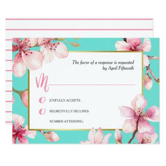 Cartão Flor de cerejeira da aguarela que Wedding RSVP