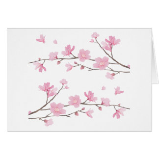 Cartão Flor de cerejeira - fundo branco