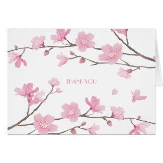 Cartão Flor de cerejeira - fundo branco - OBRIGADO
