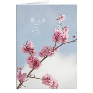 Cartão Flor de cerejeira no céu que pensa de você