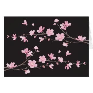 Cartão Flor de cerejeira - preto