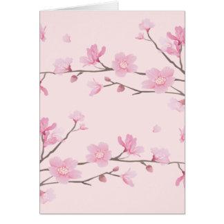 Cartão Flor de cerejeira - rosa