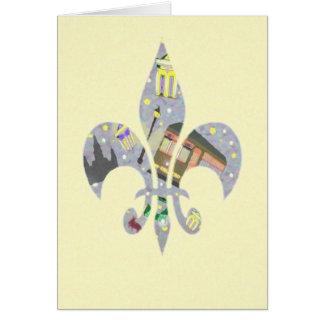 Cartão Flor de lis da cena de Nova Orleães