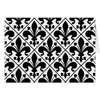 Cartão Flor de lis preto e branco chique