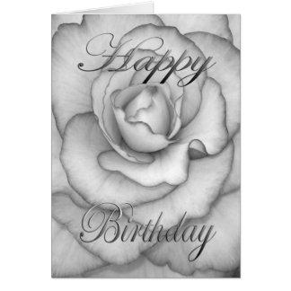 Cartão Flor do aniversário branca e preta