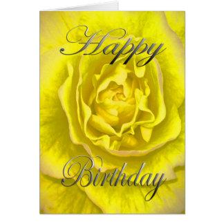 Cartão Flor do aniversário no amarelo e no rosa