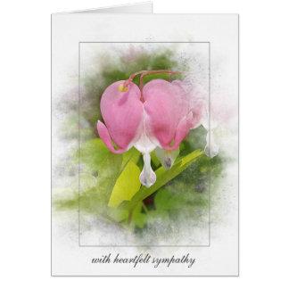 Cartão flor do coração do simpatia-sangramento