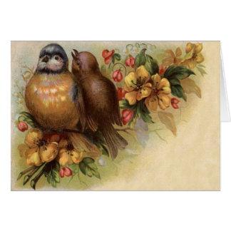 Cartão Flor do vermelho do amarelo do pássaro do pisco de
