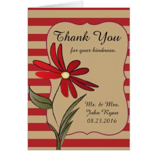 Cartão Flor listrada vermelha