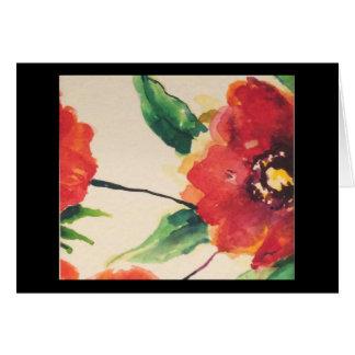 Cartão Flor Notecard com a papoila na parte dianteira
