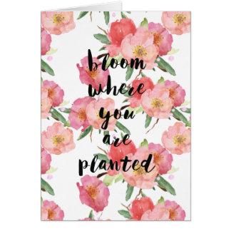 Cartão Flor onde você é aguarela plantada floral
