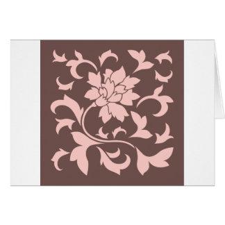 Cartão Flor oriental - quartzo cor-de-rosa & chocolate