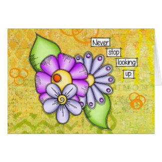 Cartão Flor positiva do Doodle do pensamento do prazer da