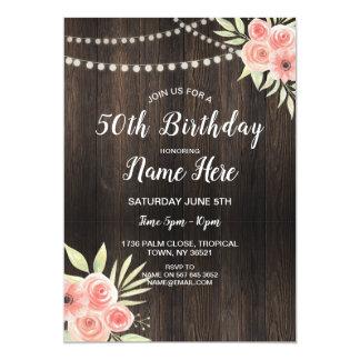 Cartão Flor que da festa de aniversário todo o rosa do