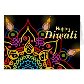 Cartão Flor Rangoli de Diwali com as lâmpadas de óleo