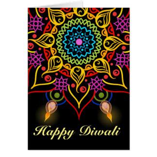 Cartão Flor Rangoli de Diwali com lâmpadas de óleo