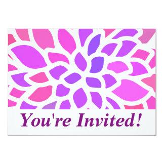 Cartão flor retro moderna roxa cor-de-rosa