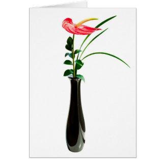 Cartão Flor vermelha do antúrio em um vaso
