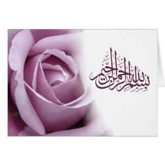 Cartão Flor vermelha do rosa do rosa da caligrafia
