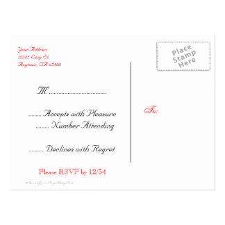 Cartão florais do costume RSVP do vintage vermelho