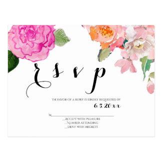 Cartão florais do rsvp do casamento
